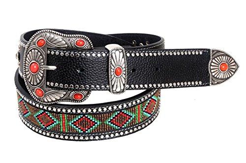 montana-west-womens-belt-beaded-aztec-diamonds-design-red-stones-small
