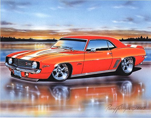 1969 Chevy Camaro Z28 Coupe Muscle Car Art Print Orange 11x14 ()