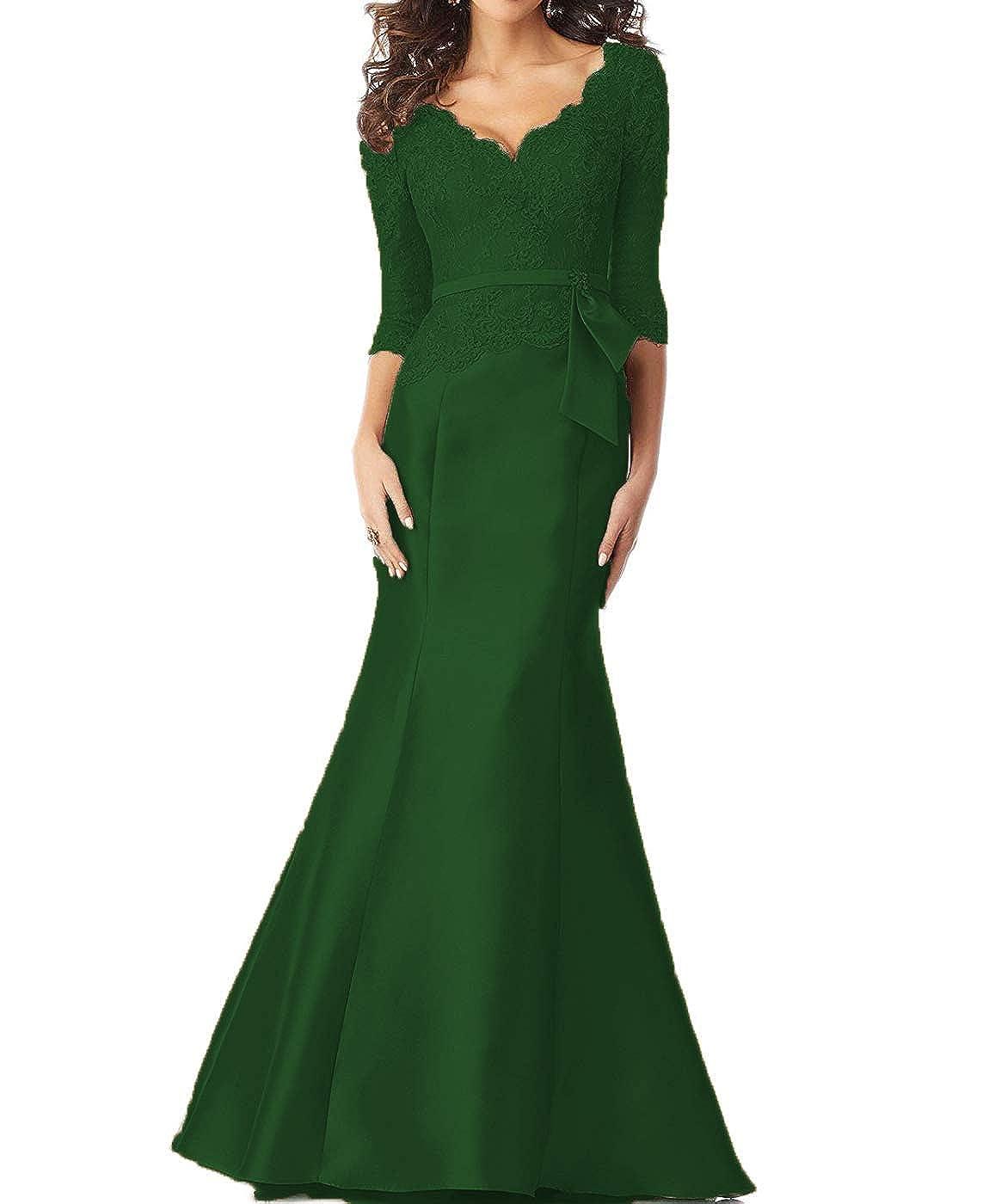 Dark Green tutu.vivi Women's VNeck Lace Mermaid Evening Prom Dresses 3 4 Sleeves Appliques Long Formal Gown