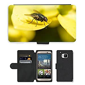 Super Stella Cell Phone Card Slot PU Leather Wallet Case // M00103969 Fly Leaf Animal Macro Yellow Insect // HTC One M9