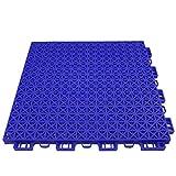 "tile kitchen floor RevTime Patio Interlocking Rugged Grip-Loc Floor Tiles 12""x12""x5/8"" Non-Slip with Drainage Holes Deck Flooring, Patio Pavers - 24 Pack - Blue"