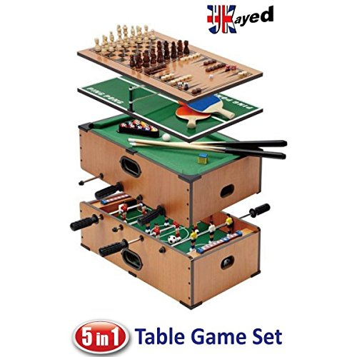Awesome UKayed ® 5 In 1 Deluxe Games Table   Pool   Football   Tennis   Chess    Backgamman  : Amazon.co.uk: Toys U0026 Games