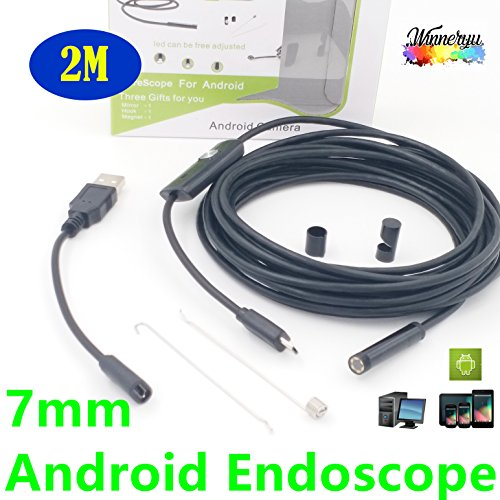 7mm Android Endoscope, winneryu, OTG Micro USB Endoscope Waterproof Borescopes Inspection Camera with 6 LED (2m/6.56ft)