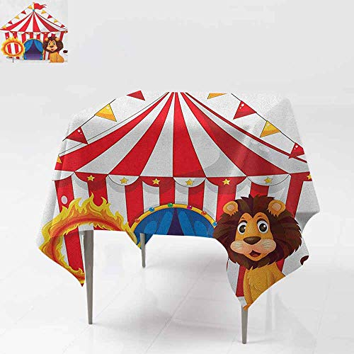 Spillproof Tablecloth,Circus,Lion and a Fire Ring in Front of The Circus Tent Blazing Flame Adventure Dangerous,Great for Buffet Table, Parties& More,70x70 Inch Multicolor