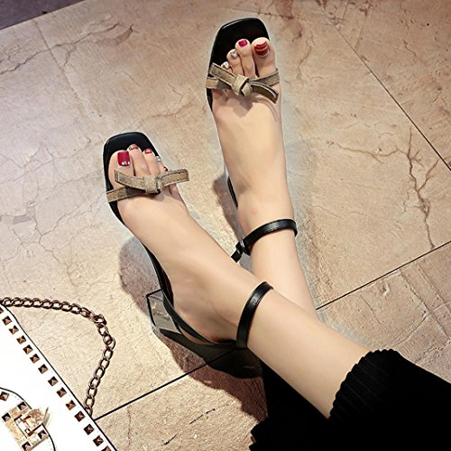 Elevin(TM) 2018Women Summer Open Toe Thick Heel Shoes Gladiator Shoes Wedding Sandals Gray bOaZ1