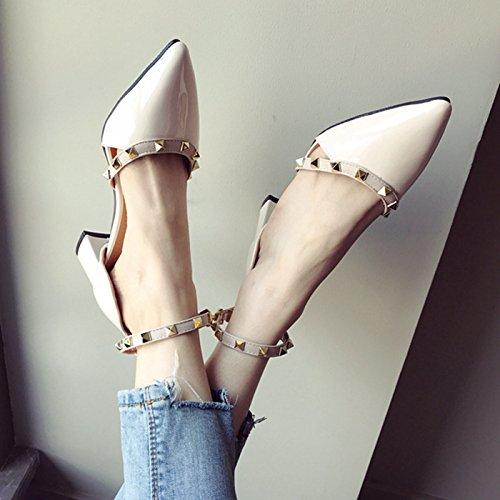 Mujer con Zapatos Tacón Primavera negro Hueca Brillantes Punta para GTVERNH medianos de en qIdwnE6XX