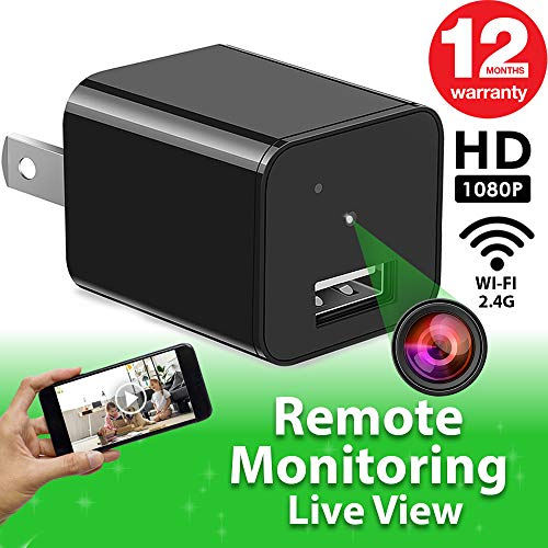 Hidden Camera - Spy Camera - APP Remote View - HD 1080P - WiFi Camera - Wireless Camera - Surveillance Camera - Mini spy Camera - USB Camera - Nanny Camera - Best Spy Camera Charger - Improved 2020