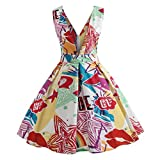 Elegant Dresses,Han Shi Women Deep V Neck Printing Evening Party Prom Swing Gowns (XL, White)