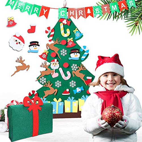 SUPTEMPO Felt Christmas Tree, 3ft DIY Christmas Tree with 35pcs Ornaments Door Wall Hanging Xmas Gifts for Kids Christmas New Year Decoration