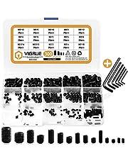 VIGRUE 300Pcs M2.5/M3/M4/M5/M6/M8 Hex Allen Head Socket Set Screw Bolts Assortment Kit Grub Screw with Internal Hex Drive (Black)
