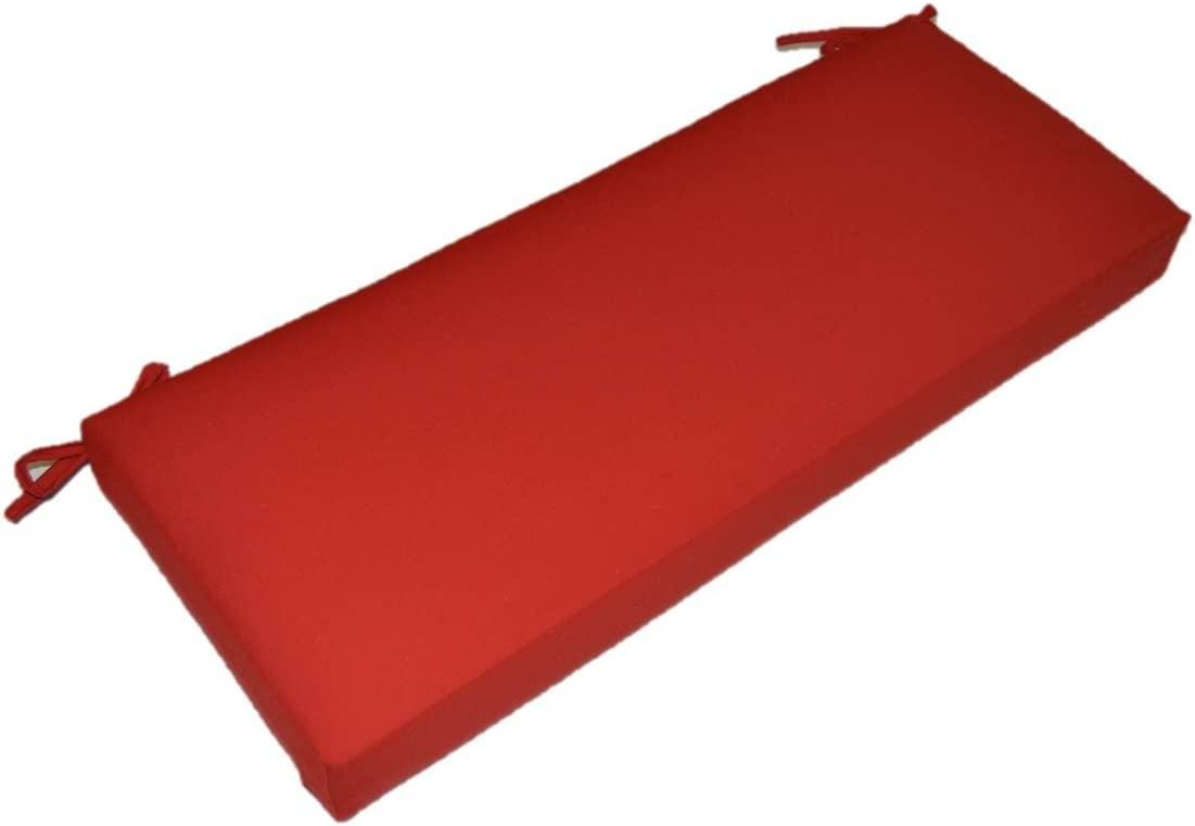 Resort Spa Home Decor Solid Red 3 Thick Foam Swing Bench Glider Cushion with Ties and Zipper – Indoor Outdoor Fabric – Choose Size 60 x 18