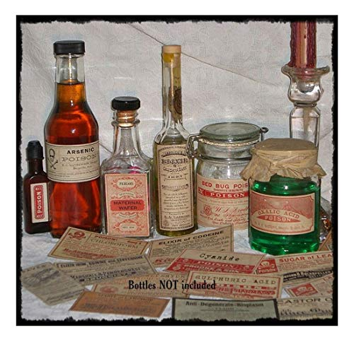 20 POISON VINTAGE LOOK VICTORIAN APOTHECARY LABELS Halloween/Steampunk/Primitive- Sold by Soigne and -