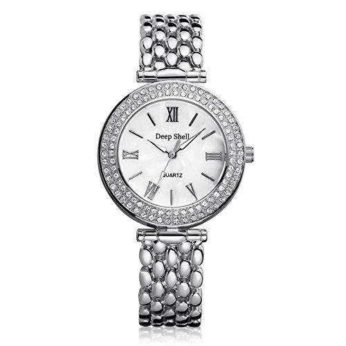 Female Trendy Chic Diamond Dial Steel Belt Quarts Wrist Watch The Time Sawyer (Diamond Watch Chrono)