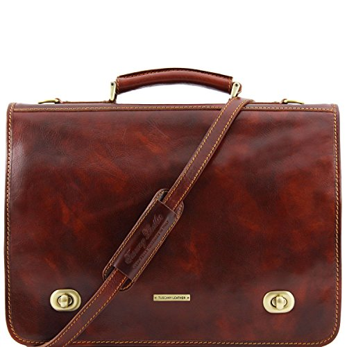 Dark Brown Brown 2 bag Tuscany messenger Siena Leather Leather compartments qx0nX8wzn