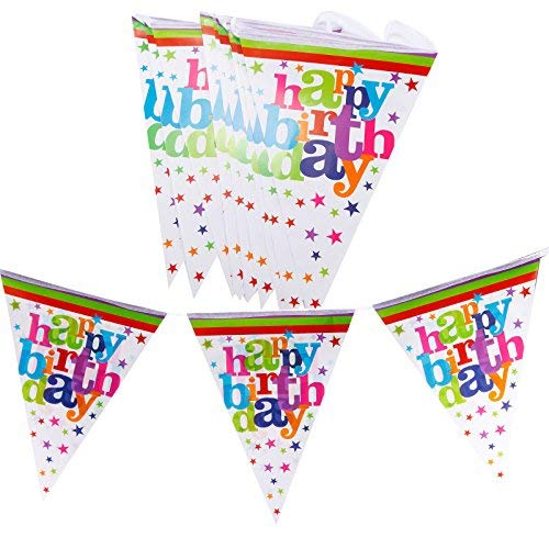 Happy Brithday Surepromise 3 Meters Happy Birthday Bunting Party Flag 12 Pcs Celebration Decoration Prince Princess Baby Shower Banner Garland