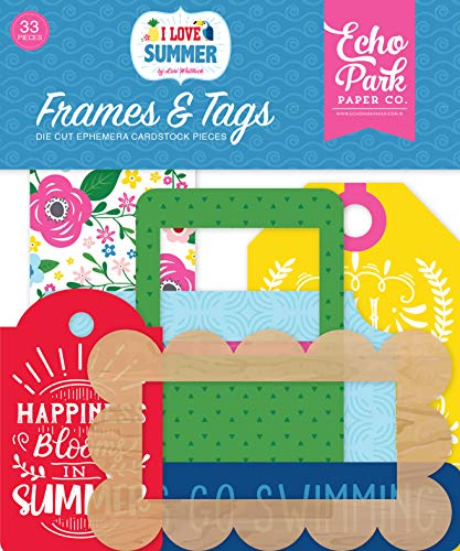 Echo Park Paper Company SU178025 I I Love Summer Frames & Tags Ephemera, Pink, Teal, Green, Yellow, Blue, red ()