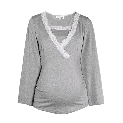 HERZMUTTER -  Pijama premamá de embarazo y lactancia, Rope de dormir Grau-Mélange