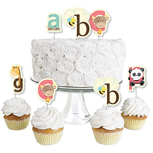 A is for Alphabet - Dessert Cupcake Toppers - ABC Baby Shower or Birthday Party Clear Treat Picks - Set of -