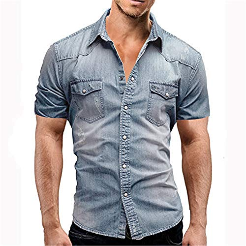 Men's Cowboy Casual Cotton Long Sleeve Denim Work Dress Shirt Jacket Slim Fit Shirts (Light Blue Short Sleeve, S) -