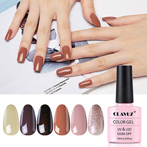 Gel Nail Polish Set -CLAVUZ 6 Pcs Soak Off Nail Art Manicure Varnish Set Gel Nail with Gift Box 10ml, Require LED UV Nail Dryer Lamp