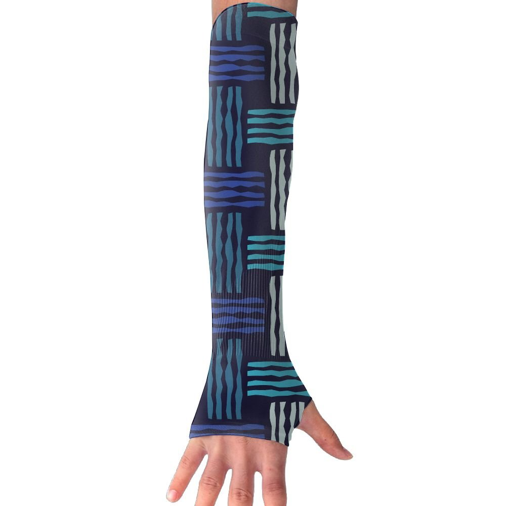 Suining Unisex Blue Knitting Style Sunscreen Outdoor Travel Arm Warmer Long Sleeves Glove