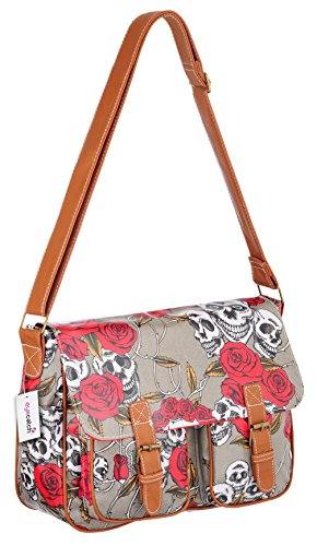 Bag TM Womens Shoulder Roses Skull Cloth Messenger Satchel EyeCatch Oil Grey SAd5zwAq