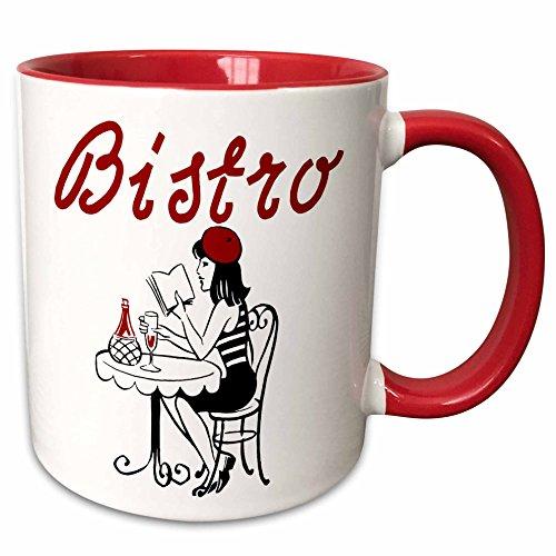 Two Mug Tone Bistro (3dRose TNMGraphics Food and Drink - Bistro - 15oz Two-Tone Red Mug (mug_124202_10))
