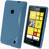 iGadgitz S Line Blue Durable Crystal Gel Skin (TPU) Case Cover for Nokia Lumia 520 Windows Smartphone Cell Phone + Screen Protector