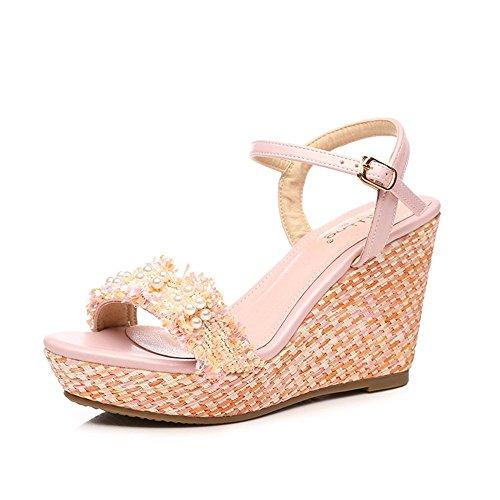 tacón sandalias de de Pink con Word de impermeable verano mujeres las GAIHU Zapatos pendiente perla plataforma 9cm con vnnw8Zqz
