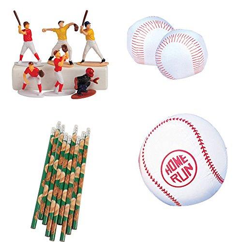 Kid Fun Baseball Toy Party Favor Supplies Set for 12 Bundle 48 Pieces Pencils Baseballs Figures -