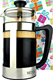 French Press Coffee Espresso Tea Maker 34 oz - Gift Box - Comfortable Handle - Easy Clean - Coffee Press Stainless Steel - 1 liter 8 Cups - Gift Idea - Birthday gifts for women and men