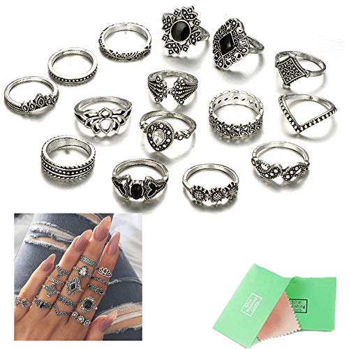 - ANGELANGELA 15Pc Fearless Lotus Black Ring Set, Boho Knuckle Rings Set for Women, Vintage Retro Crystal Bohemian Midi Rings, Joint Nail Band Cuff Toe Statement Flower Finger Rings