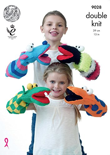 King Cole Pricewise DK Knitting Pattern for Double Knit Quirky Hand Puppets Kids (9028)