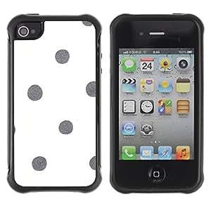 Híbridos estuche rígido plástico de protección con soporte para el Apple iPhone 4 / 4S - dot white gray minimalistic