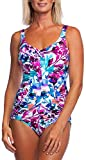 Maxine Of Hollywood Women's V-Neck Side Shirred One Piece Swimsuit, White//Parisian Garden, 16