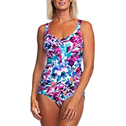 Maxine Of Hollywood Womens V Neck Side Shirred One Piece Swimsuit