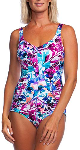 Maxine Of Hollywood Women's V-Neck Side Shirred One Piece Swimsuit, White//Parisian Garden, 14