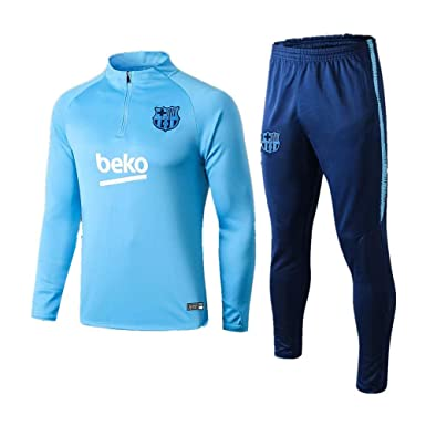 Traje de Entrenamiento de fútbol Traje de Manga Larga Traje de fútbol de Barcelona Suéter Azul Claro y Pantalones de Pierna
