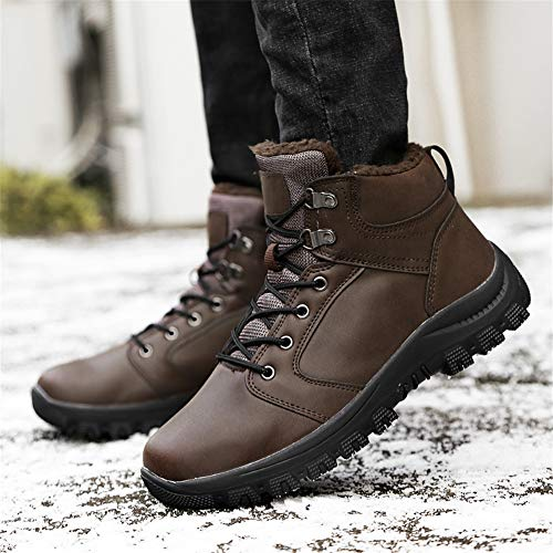 Boots Outdoor Walking Warm Shoes Fur Show Waterproof Brown Men's Snow Sneaker Lined Leader HqRpBXE
