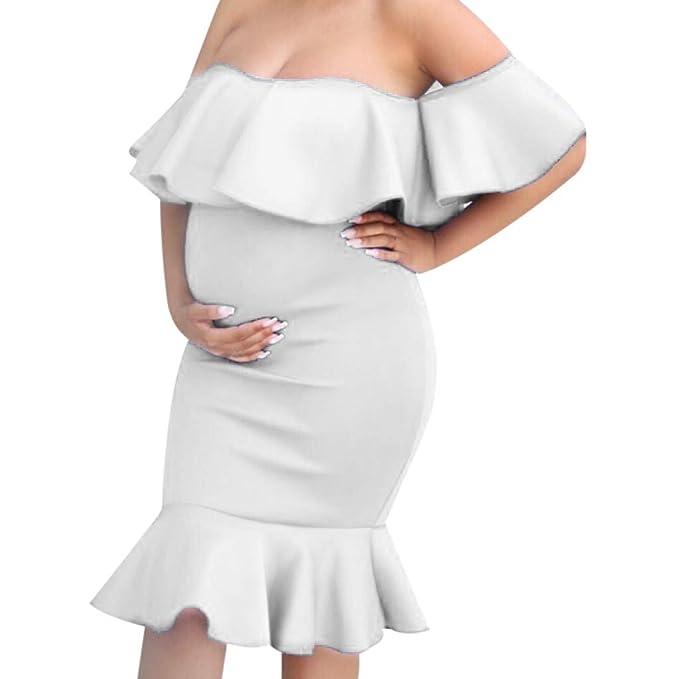 SamMoSon 2019 Jersey Camison Ropa Premama Verano Sujetador Lactancia Vestidos para Camison,Embarazo Vestido Sólido