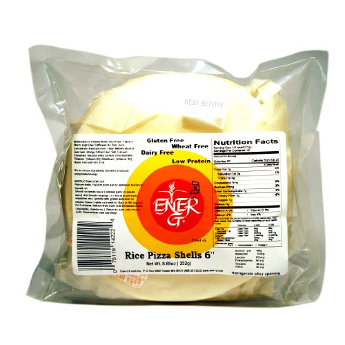 Ener-G Foods 6-Inch Rice Pizza Shells, 8.89-Ounce Packages (Pack of 5) (White Pizza Rice)