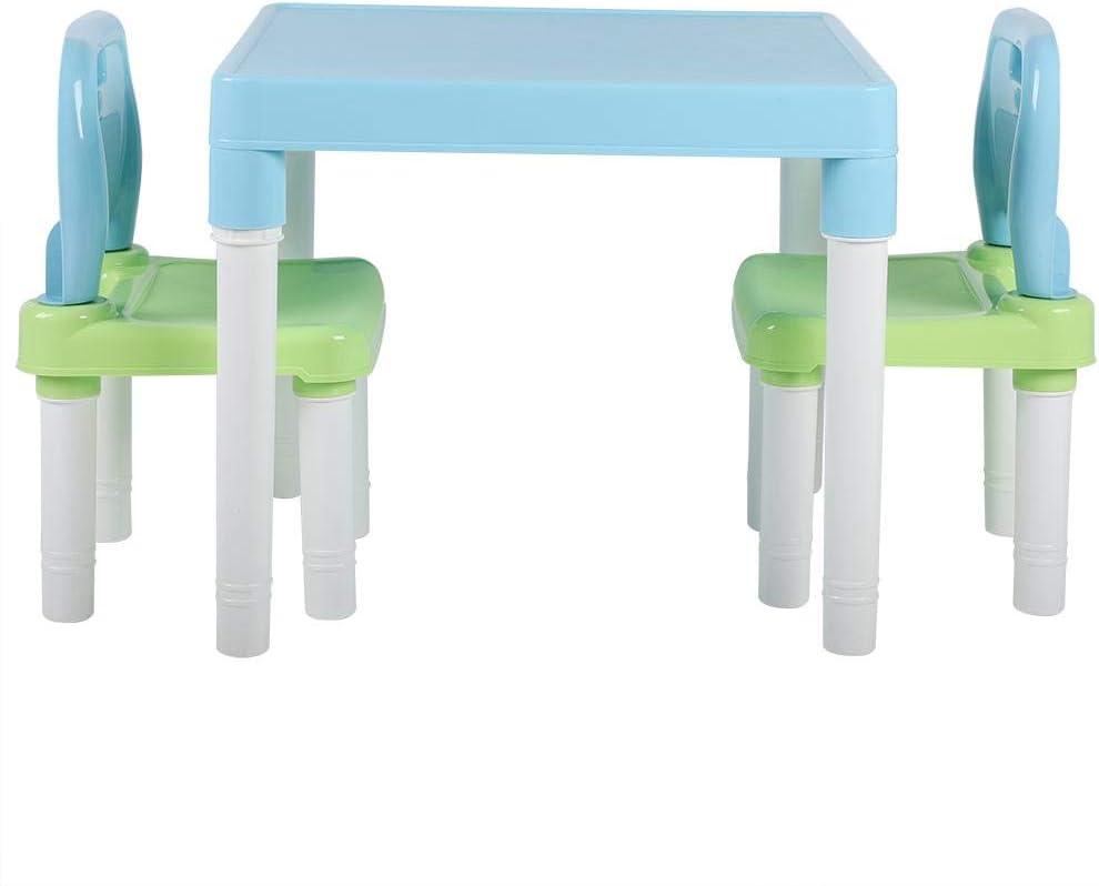 Azul Verde EBTOOLS Juegos de Mesa y Sillas para Ni/ños Escritorio de Jard/ín de Infancia Casa para Aprender Pintar Estudiar Juegos Cenar Pl/ástico No T/óxico Regalo para Ni/ña Ni/ño