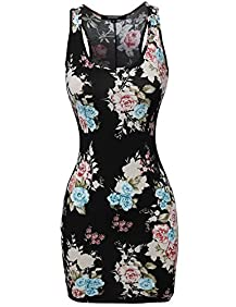 Awesome21 Women's Soft Stretch Floral Print Mini Dress