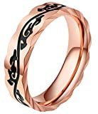 AZYOUNG 316L Stainless Steel Rose Gold Retro Pattern Chinese National Wind Couples Rings(5)