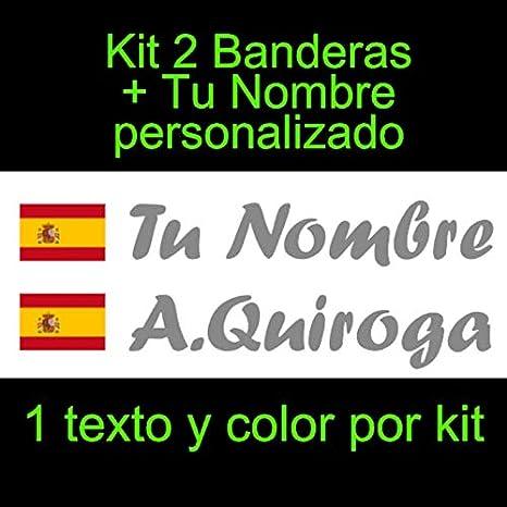 Vinilin Pegatina Vinilo Bandera España con Escudo + tu Nombre - Bici, Casco, Pala De Padel, Monopatin, Coche, Moto, etc. Kit de Dos Vinilos (Gris Oscuro)