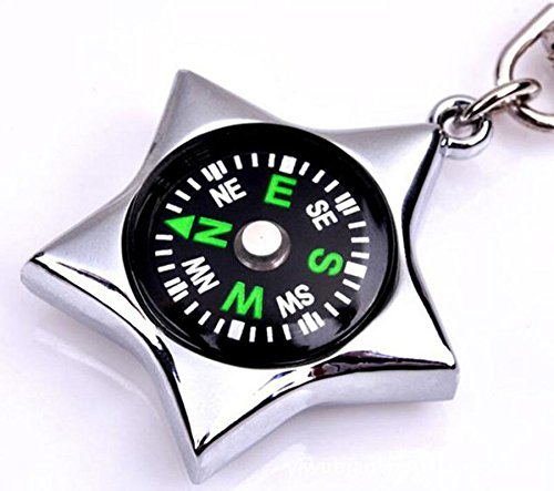 Unisex Fashion Compass Metal Car Keyring