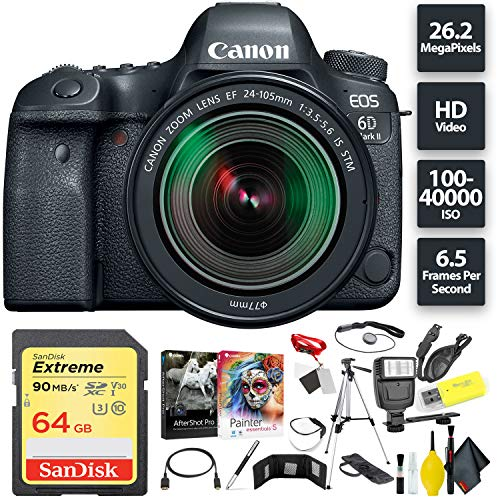 Canon EOS 6D Mark II DSLR Camera + 24-105mm f/3.5-5.6 Lens + 64GB Memory Card (1x 64) Base Combo