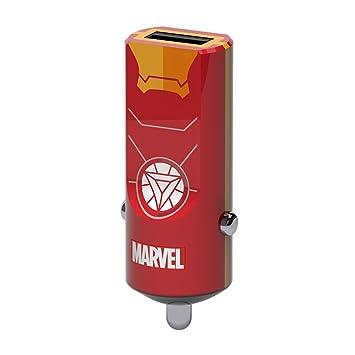 Tribe Marvel 2.4 A Cargador de coche Fast Charge I USB Cargador Universal para iPhone, iPad, Smartphone Samsung Galaxy, Huawei, LG, Nexus - Iron man