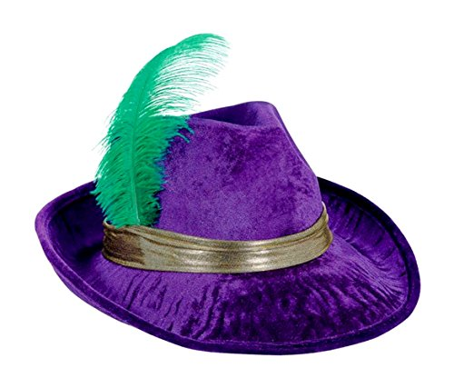 [Amscan Velvet Fedora Hat Mardi Gras Costume Party Headwear, Purple, 13.5 x 11