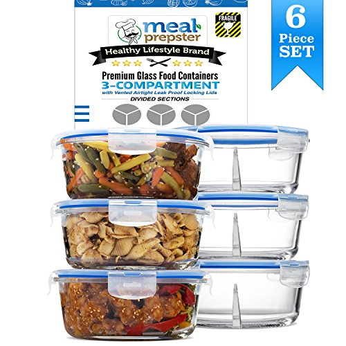 Glass Round Meal Prep Containers - 3 Divided Compartments with Vented Snap Locking Lids BPA Free (32 Oz | 4 Cups)- Gift Set (3 Pack Set) (Round Divided)